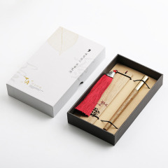 知音系列金丝楠木签字笔 书签+铜帽中性笔礼盒套装 高档年会商务礼品