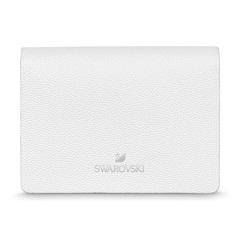 施华洛世奇(SWAROVSKI)简约商务名片夹(白色) 上等小牛皮意大利制造名片包 高端商务礼品