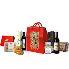 中秋禮 吉利禮盒A 名牌富錦*4進口紅酒橄欖油蜂蜜套裝 中秋節客戶送禮方案
