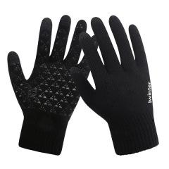 触屏防滑针织冬季保暖手套 加绒毛线手套 线下活动小礼品