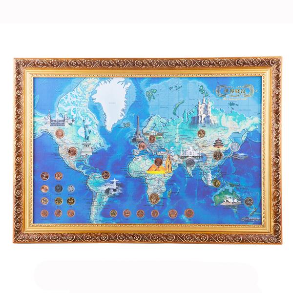 【有钱途】世界财富地图——30枚世界多国硬币相框 外币壁挂送客户送