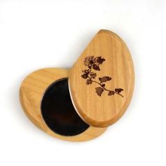 木质滑盖小号美容镜子  迷你便携 创意礼品