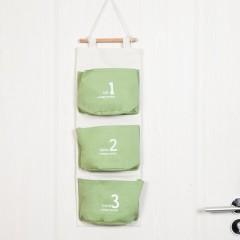 素雅棉麻墙上收纳挂袋 创意三兜连体挂壁式收纳袋 门后储物袋