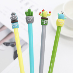 创意仙人掌盆栽造型中性笔0.5mm全针管卡通签字笔 广告笔
