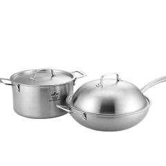 德国司顿(STONE)中式三层不锈钢锅具 炒锅汤锅2件套 STH054