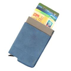 进口反绒牛皮自动弹出名片盒 零钱卡包 银行卡夹 商务礼品定制