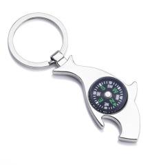 金属指南针鲨鱼开瓶品钥匙扣 特色设计 广告促销礼品