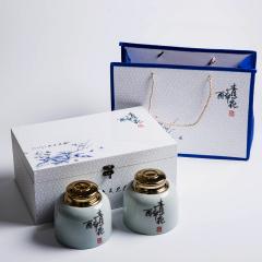 【青花醉】国色天香冰裂纹青瓷茶叶罐礼盒套装  商务节庆礼品