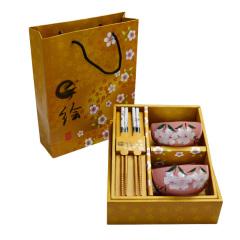 和风日式陶瓷餐具套装 手绘樱花釉中彩碗筷四件套(两碗两筷)