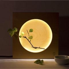 創意木質滿月燈 溫馨裝飾床頭臺燈