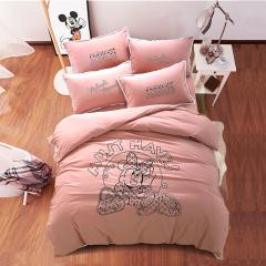 迪士尼(Disney)陽光米妮床上四件套 高檔床品 水洗棉床單套件 年終福利