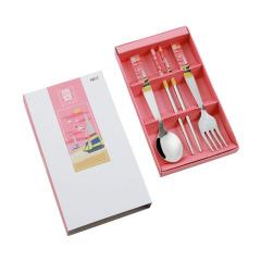 四季平安系列 3件组 不锈钢勺子筷子礼盒套装 儿童礼品