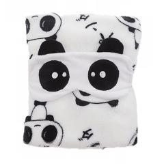 【大熊貓】小毛毯+眼罩組合套裝 午休毯空調毯兩用毛毯保暖 冬季促銷禮品