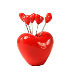 不锈钢水果叉-含5根水果叉(爱心款)