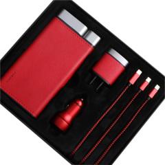 PURIDEA 臻致數碼禮盒 輕薄移動電源+雙口USB充電器+車載充電器+一拖三數據線組合四件套 有質感的商務禮品