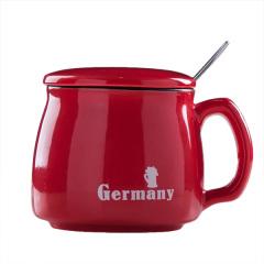 日式陶瓷马克杯 简约带杯盖早餐杯 牛奶咖啡杯 促销小礼品(大号红色款)