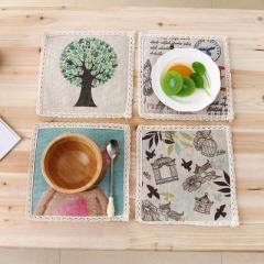 創意棉麻防滑杯墊 方形餐墊隔熱墊--鳥籠款