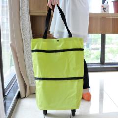 卡秀收纳-牛津布折叠两用拖轮包(绿色)