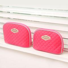 纳彩菱形格大容量旅行化妆包2件套-粉红色 开业一般送什么赠品