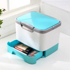 卡秀手提式多功能带镜子化妆品收纳箱-蓝色