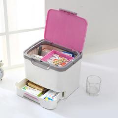 卡秀手提式多功能藥箱 家用收納箱-粉紅色(KX630-3)