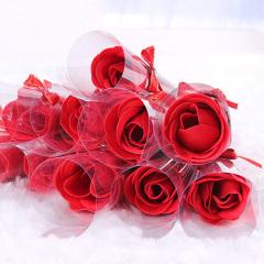 单支蝴蝶结玫瑰香皂花--大红色
