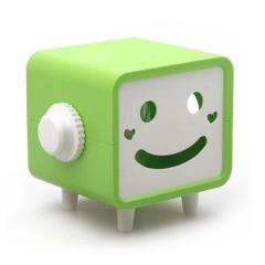 时尚简洁创意笑脸可转动纸巾盒-绿色