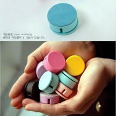 韩版wm创意圆形糖果色手机檫/屏幕擦/耳机绕线器