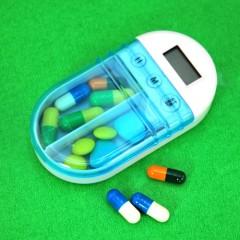 電子定時提醒雙格藥盒