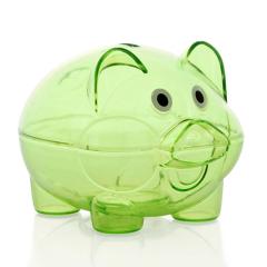 北欧风时尚绚丽透明猪仔存钱罐-绿色(大号)