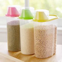 创意厨房2.5L大号易倾倒杂粮储物罐 带量杯--黄色(0070)又大又便宜的活动礼品