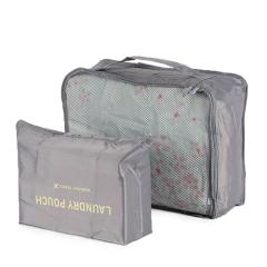 大號韓版衣物旅行收納袋2件套--灰色