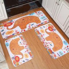 卡通印花绒面防潮地毯 浴室防滑地垫 --动物聚会(50*80cm)