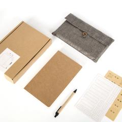 牛皮纸手绘笔记本手账本文具套装 商务馈赠礼品周年庆典小礼物定制