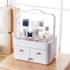 手提大號雙開門防塵翻蓋帶抽屜透明化妝品收納盒--天空灰(5999)