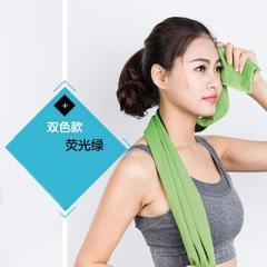 双色冷感冰爽毛巾 运动吸汗冰巾--荧光绿
