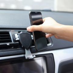 夹扣式重力自动感应车载手机支架--黑色
