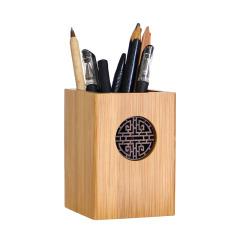 木质笔筒如意纹圆形 办公桌面收纳盒 商务型礼品
