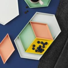 玖悦创意几何彩色可拆卸托盘 果盘四件套