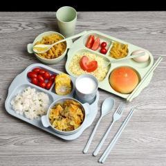 小麦秸秆儿童碗筷勺叉分格餐盘六件套--北欧蓝