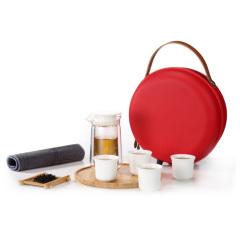 【随圆】高端车载旅行茶具 一壶四杯带茶盘旅行套装 商务礼品
