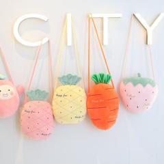 温冬卡通水果可拆洗双插手斜跨电热水袋 暖手宝--草莓