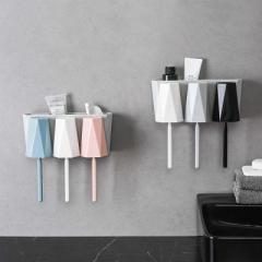 玖悅北歐風壁掛式幾何3杯牙刷架洗漱套裝--白灰粉