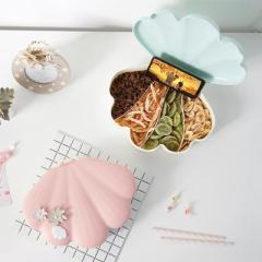 贝壳造型带盖4格零食干果糖果盒 带手机支架--薄荷绿(6160) 个性创意礼品