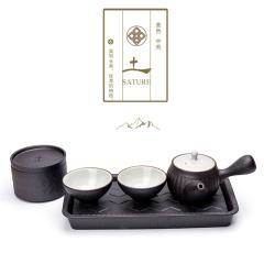 【土】粗陶五行茶具 金木水火土功夫茶具套装 一壶二杯一茶叶罐一干泡台茶具礼盒 新年商务礼品