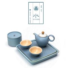 【水】粗陶五行茶具 金木水火土功夫茶具套装 一壶二杯一茶叶罐一干泡台茶具礼盒 新年商务礼品
