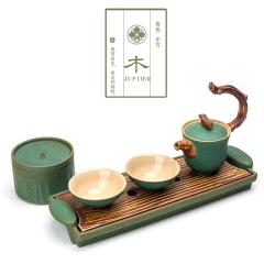 【木】粗陶五行茶具 金木水火土功夫茶具套装 一壶二杯一茶叶罐一干泡台茶具礼盒 新年商务礼品