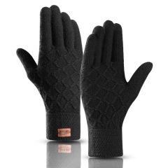 双指触控保暖格子毛线加绒手套 会议现场互动的小礼品