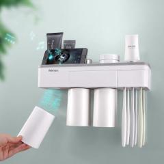 简约壁挂式带磁力吸附置物牙刷架洗漱套装  三口之家款--时尚灰 送给商家小礼品