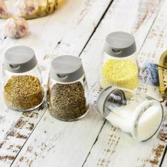 日式双开口玻璃调料瓶调味罐 4个装--北欧灰 活动礼品赠送方案
